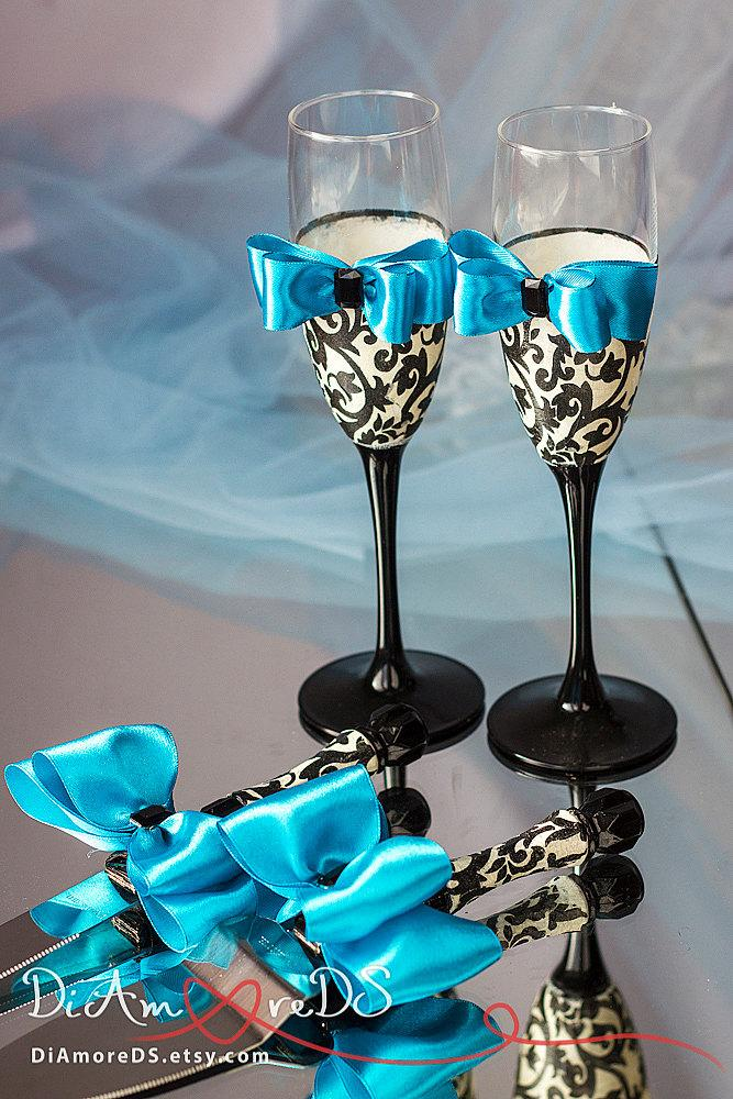 زفاف - Damask wedding set, wedding cake server and knife,champagne flutes,turquoise, black and white, wedding gift ideas, wedding supplies, 4 pcs