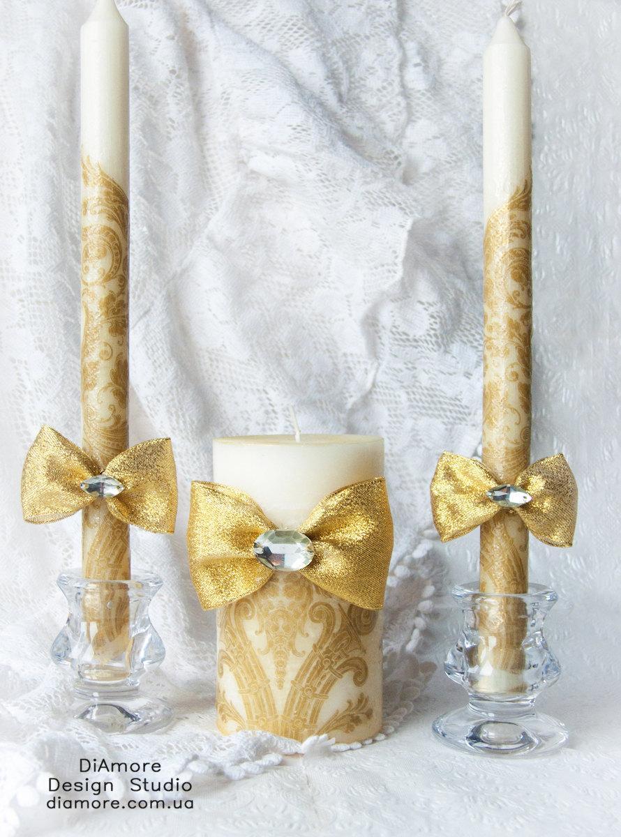 Свадьба - Handmade Gold  Unity Wedding candles set / Gold damask wedding/ personalization wedding pillar candle/3pcs/