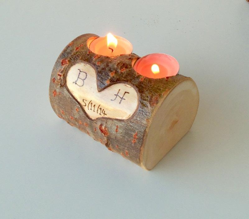Wedding - Wood Stump Candle Holder -Candle Holder with 2 Tea Light Spots - Wood Stump Holder - White Tree Candle Holder - Wedding Decoration