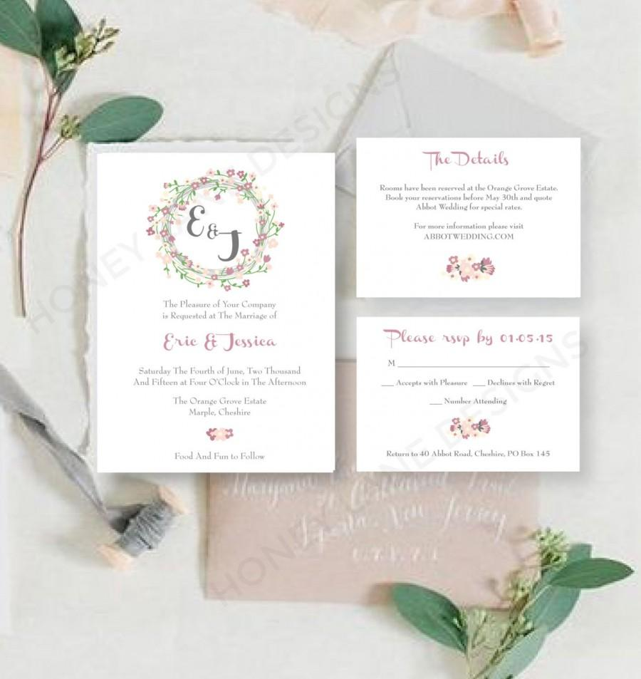 Personalised Printable Wedding Invitation Set Invite Rsvp Details Card Jessica Collection
