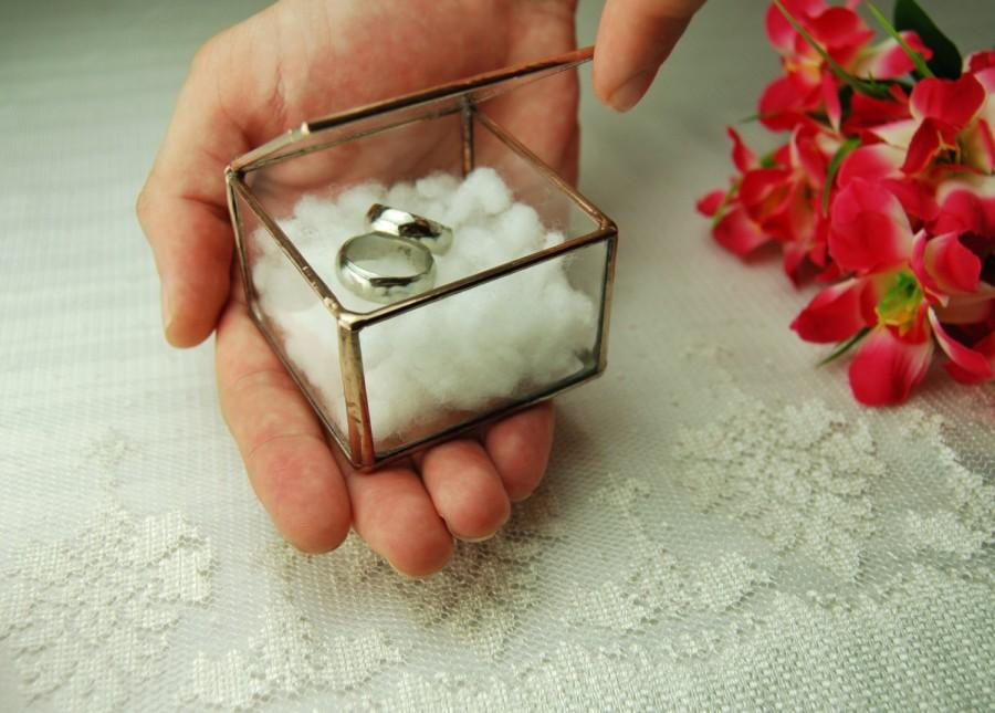 Glass Ring Box Wedding Ring Holder Geometric Glass Box Ring