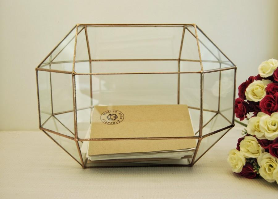 Свадьба - Wedding Card Box,Large Geometric Box, Envelope Holder, Rustic Wedding Decor, Glass Card Box, Wedding Glass Box, Wedding Card Holder, Copper