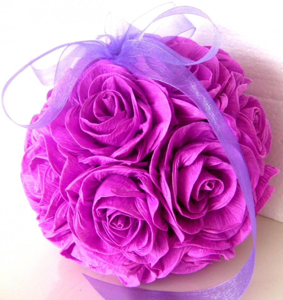 Crepe Paper Flower Balls Purple Lavender Lilac Wedding Hanging Paper