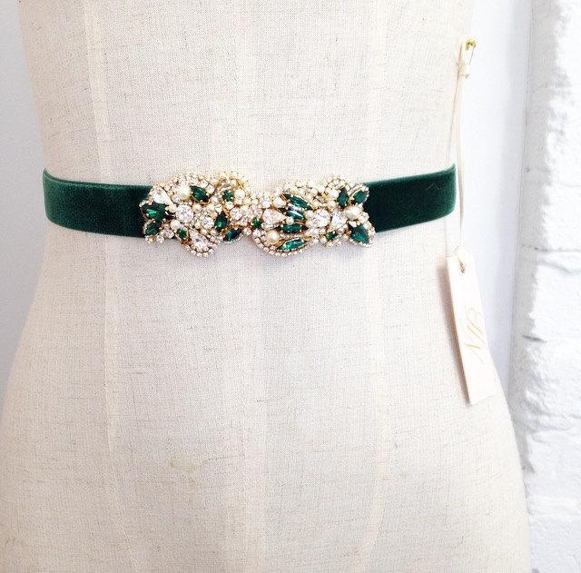Mariage - Gold and Emerald Green Bridal Sash- Swarovski Bridal Sash