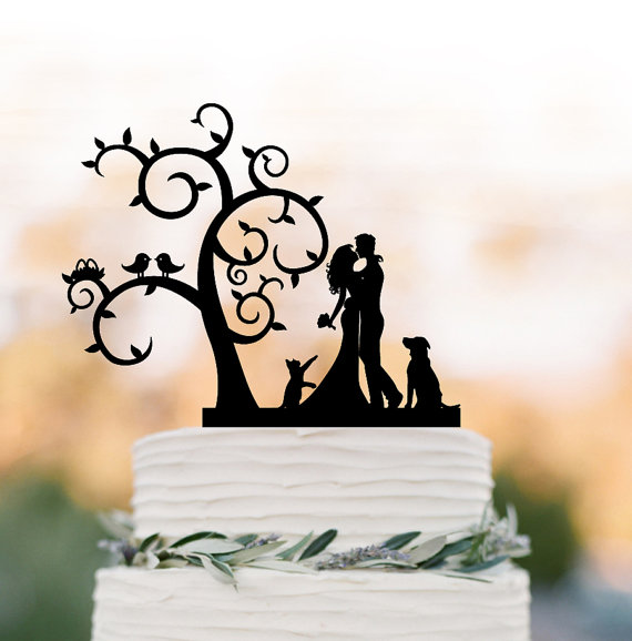 Mariage - Bride and groom Wedding Cake topper dog and cat, Tree wedding cake topper with birds, silhouette cake topper with cat , rustic cake topper