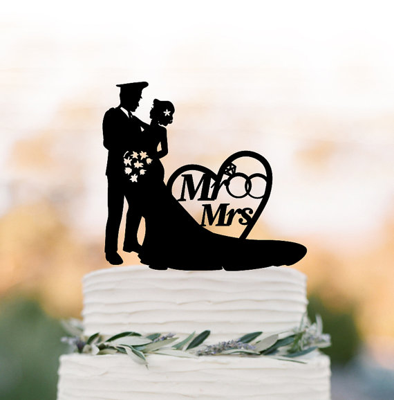 Hochzeit - policeman Wedding Cake topper with mr and mrs, bride and groom silhouette wedding cake topper with heart and wedding ring,