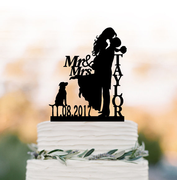 Hochzeit - Personalized Wedding Cake topper with dog, bride and groom silhouette wedding cake topper, custom anem and date cake topper