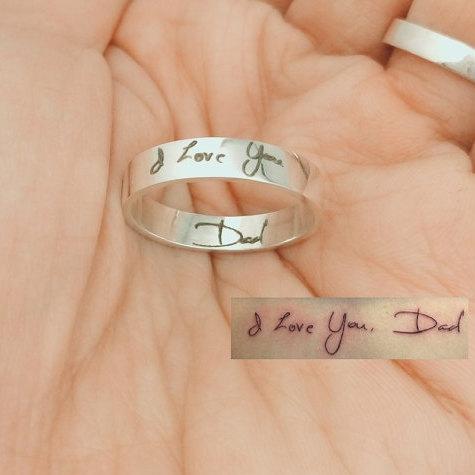 Wedding - Handwriting Ring, Christmas Gift, Custom Handwriting Ring, Rose Gold Handwritten Ring, Custom Signature Jewelry