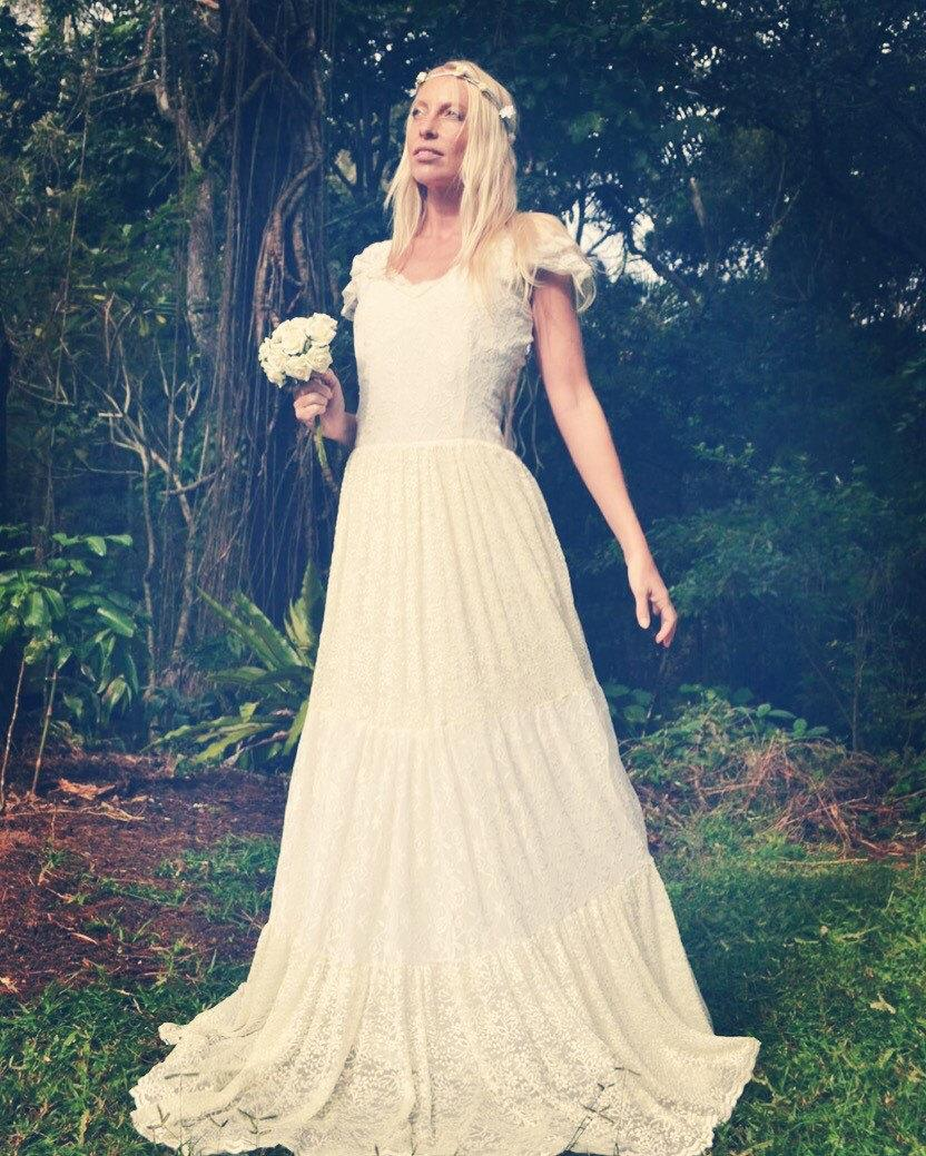 زفاف - Gypsy Princess Bridal Tier Dress, Bohemian Beach Wedding Dress