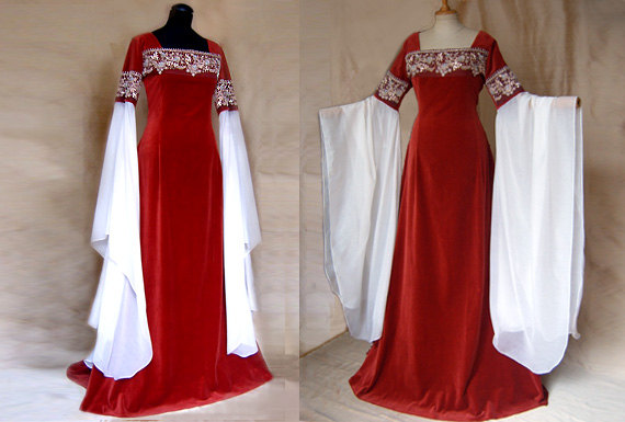 "زفاف - Wedding dress Elf dress ""RED ROSE"" Elf LOTR Arwen"