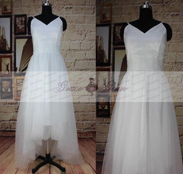 زفاف - High Low Wedding Dress,Custom Spaghetti Strap V Neck Tulle Simple Beach Wedding Dresses,Bridal Gown,Wedding Dress Beach,Wedding Dress Long