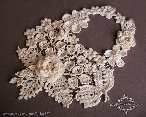 زفاف - Lace Collar Crocheted Necklace Wedding Bib Flowers Irish Lace Knitted Jewelry Accessories Dresses Ecru