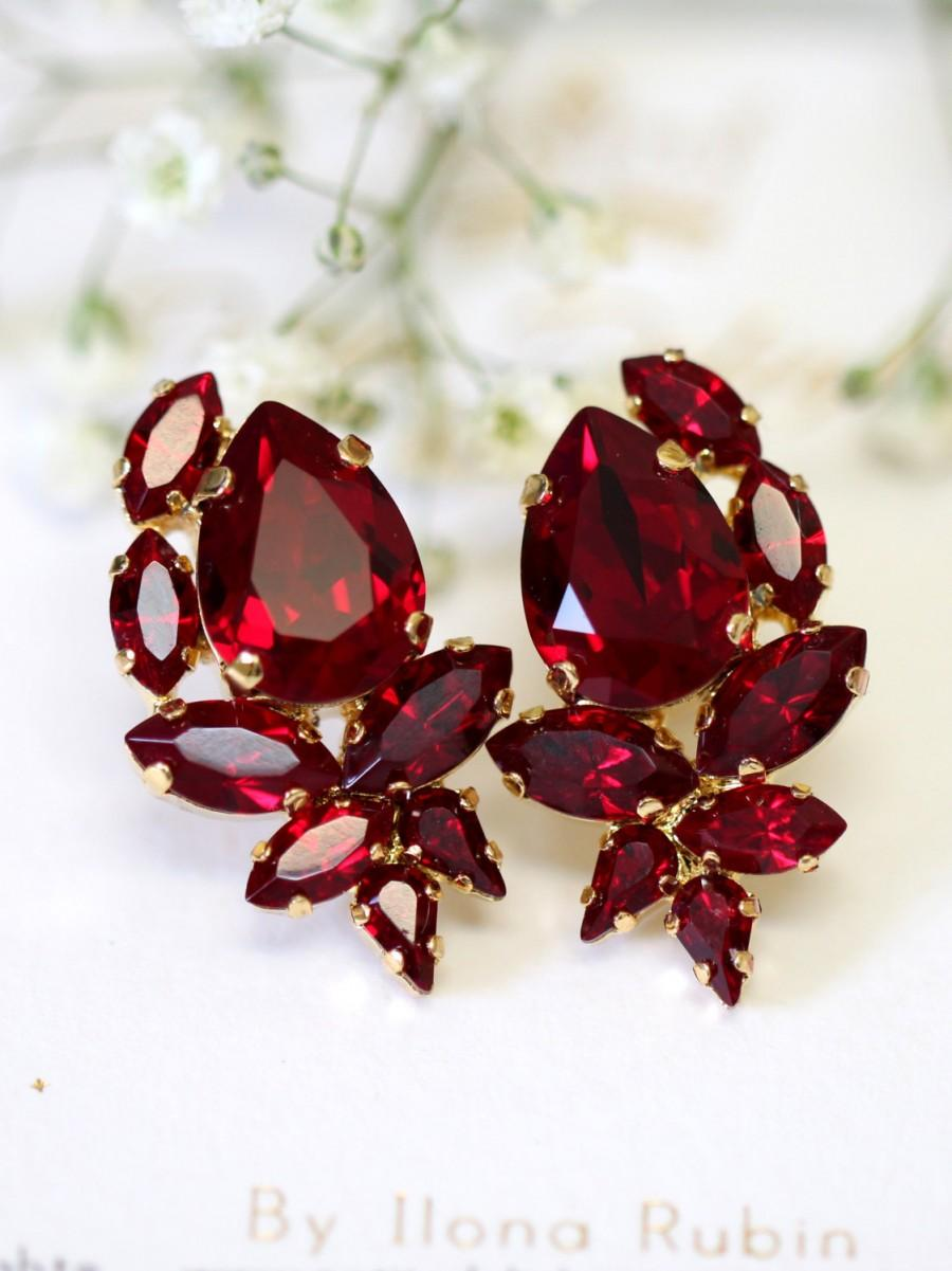 Ruby Earrings Red Swarovski Cer Bridal Bridesmaids Pomegranate Crystal Gift For Her