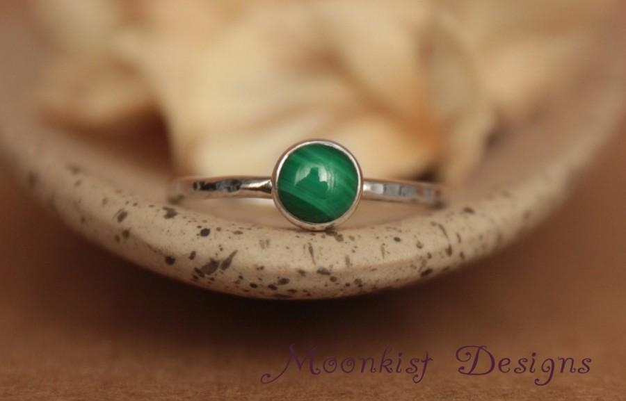Mariage - Delicate Malachite Promise Ring - Unique Bezel-Set Malachite Solitaire in Sterling - Malachite Engagement Ring - Bridesmaid Gemstone Ring