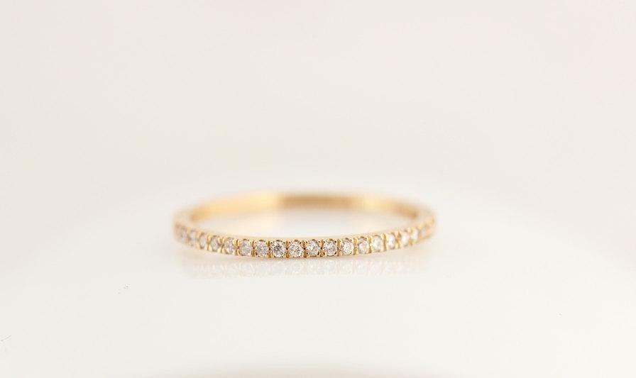 Mariage - Eternity Wedding Band,14k Solid Gold Classic Diamond Wedding Band,Yellow,Rose OR White Gold Simple Diamond Wedding Ring