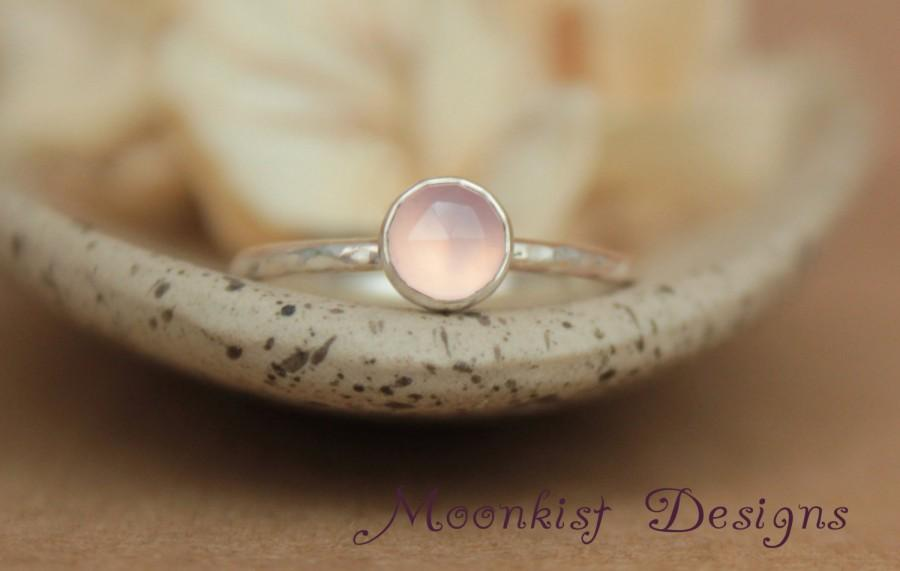 Mariage - Delicate Pink Chalcedony Promise Ring - Unique Rose Cut Bezel-Set Solitaire in Sterling - Rose Cut Engagement Ring - Bridesmaid Ring