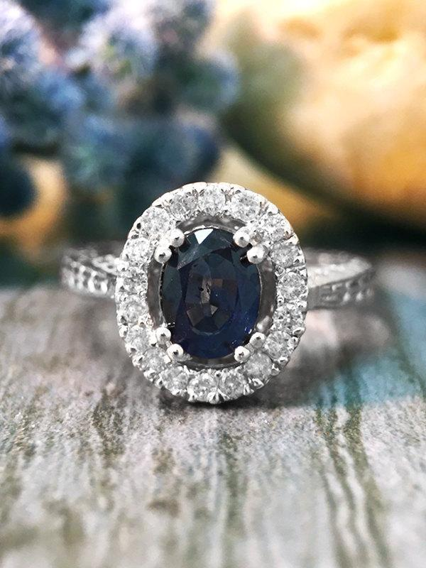 Mariage - Blue Sapphire and Diamond Halo Filigree Shank Engagement <Prong> Solid 14K White Gold (14KW) Wedding Ring *Fine Jewelry* (Free Shipping)