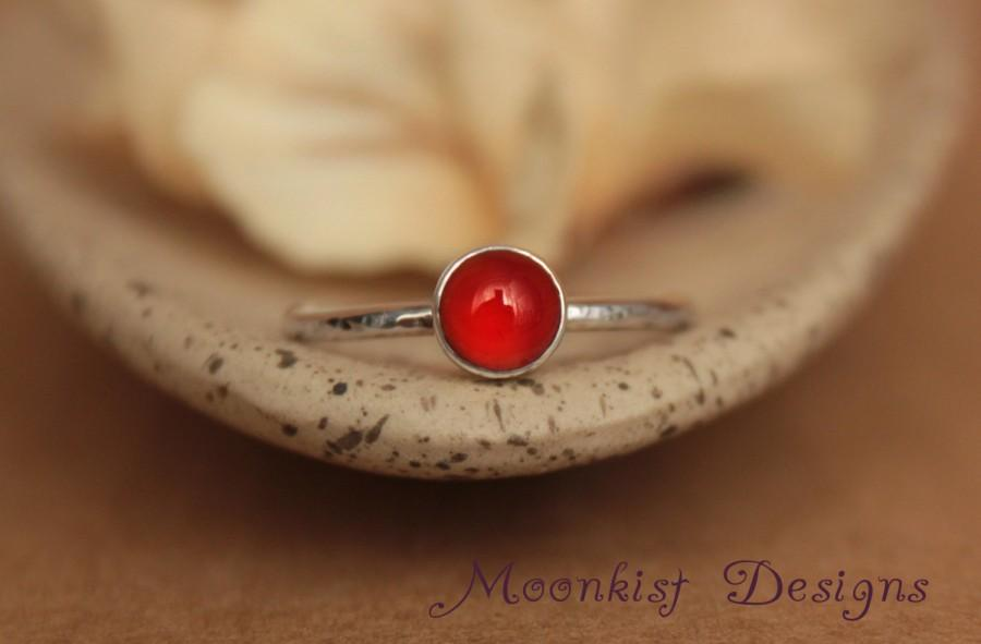 Mariage - Deep Orange Carnelian Stacking Ring in Sterling - Autumn Orange Carnelian Bezel Set Promise Ring in Silver, Custom Made to Your Size