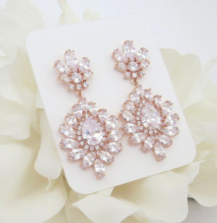 Rose Gold Earrings Crystal Bridal Chandelier Jewelry Bridesmaid Cz