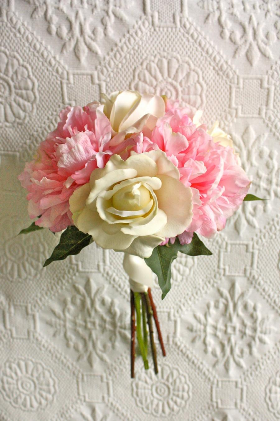 Pink Peony Bouquet With Ivory Roses (Bridesmaid Bouquet ...
