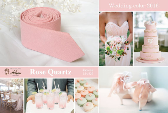 Mariage - Wedding Rose Quartz Ties Wedding 2016 Wedding color Rose Quartz Tie Men's skinny tie