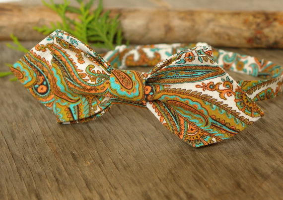 Hochzeit - Bow Tie mint green & old gold paisley BowTie white Classic Bow Tie Wedding Bow Tie