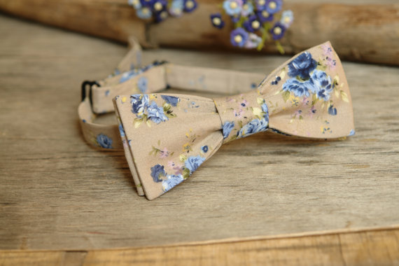 Wedding - Bow Tie Floral Pale Beige (SELF TIE) Bow Tie Pastel Champagne Classic Bow Tie Wedding Bow Tie