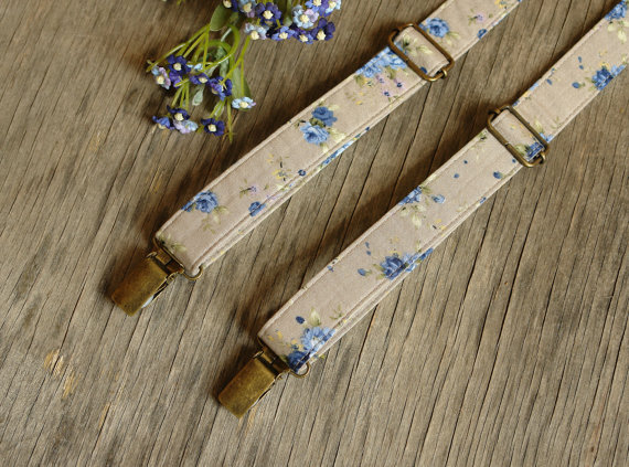Wedding - Suspenders Floral Pale Beige Wedding Suspenders Men's Suspenders