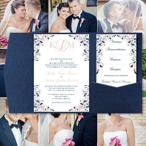 "Свадьба - Pocket Fold Wedding Invitations ""Kaitlyn"" Blush Pink & Navy Blue 5 x 7 Printable Templates Instant Download Order Any 1-2 Colors DIY U Print"