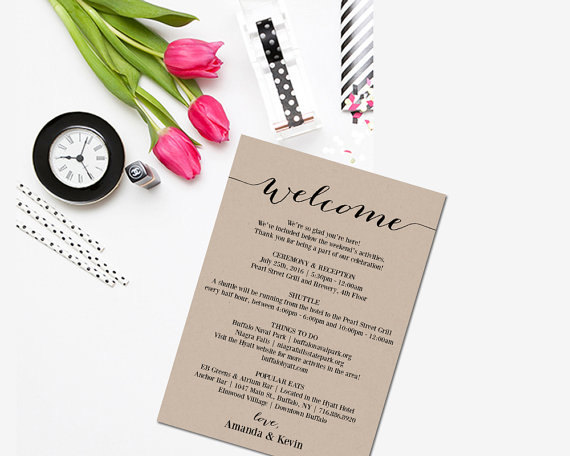 Wedding Itinerary Printable Itinerary Editable Itinerary