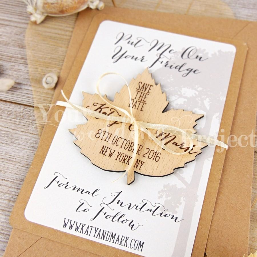 Leaf Save The Date Custom Engraved Rustic Wood Magnet Tree