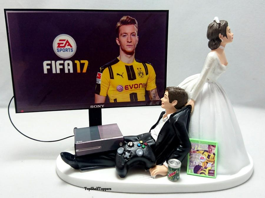 Mariage - Wedding Cake Topper Fifa17 Gamer Xbox One/PS4/PC