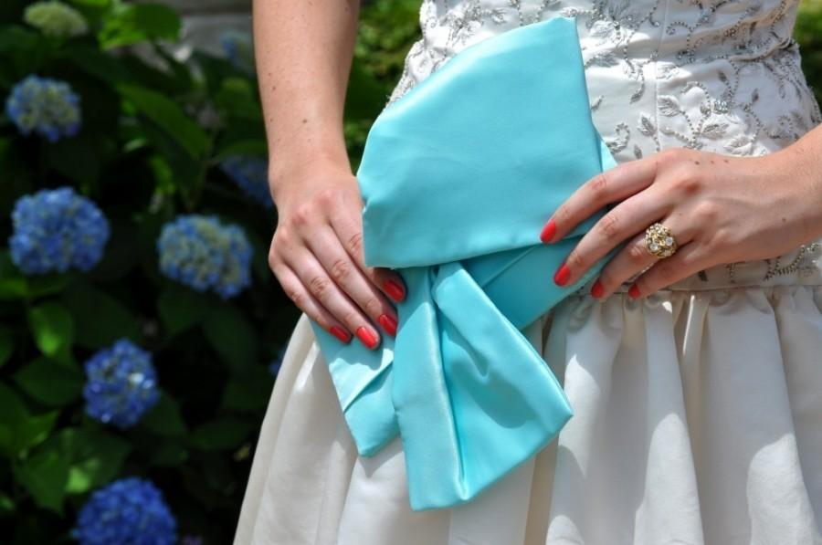 Wedding - Aquamarine Blue Bridal Clutch - The Christine Clutch, Bride Bag, Bridal Purse, Bridesmaids big bow clutch in  aqua blue satin