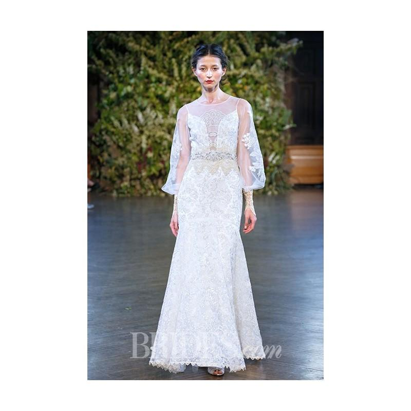 Wedding - Claire Pettibone - Fall 2015 - Ariel Silver and Gold Sequined Lace A-Line Gown with Long Sleeves - Stunning Cheap Wedding Dresses