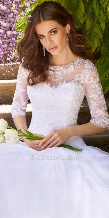 Wedding - Camille La Vie Lace applique illusion tulle wedding dress