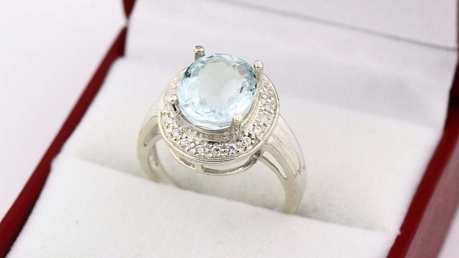 Mariage - Natural Light blue aquamarine  Solid 14K White Gold diamond Ring