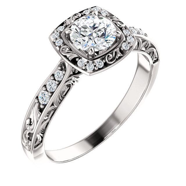Wedding - 1/2ct 5mm Forever Brilliant Moissanite Solid 14K White Gold Diamond Sculptural-Inspired Engagement Ring - ST232092