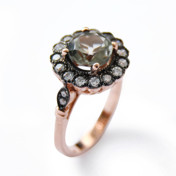 زفاف - Flower Rose Gold ring, Green Amethyst and clear zircons, 14K Rose Gold, Vintage gemstones ring, Large multistone ring, Gold statement ring