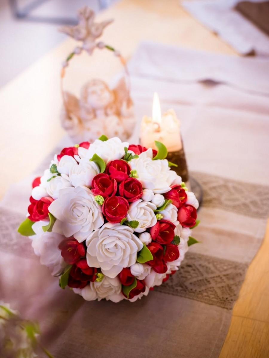 Свадьба - Clay wedding bouquet and boutonniere set, Bridal bouquet, White tuberoses and Red freesias , Natural look bouquet