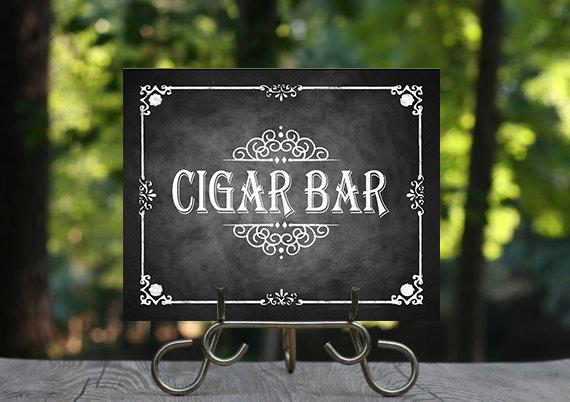 Свадьба - Printable Chalkboard Wedding Cigar Bar Sign, Wedding Bar, Cigar Sign, Rustic Wedding Sign, Chalkboard Sign, Smoking Sign, DIY wedding