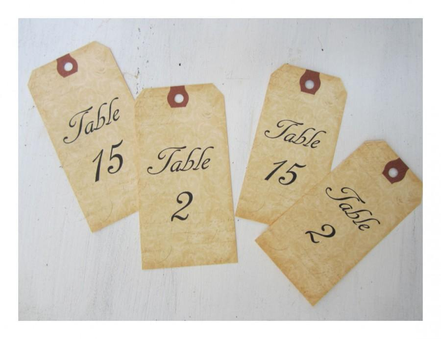 Свадьба - 12 Table Number Tags, Mason Jar Table Numbers, Vintage Wedding Table Numbers, Aged Table Signs, Wine Bottle Table Number Tags, V01