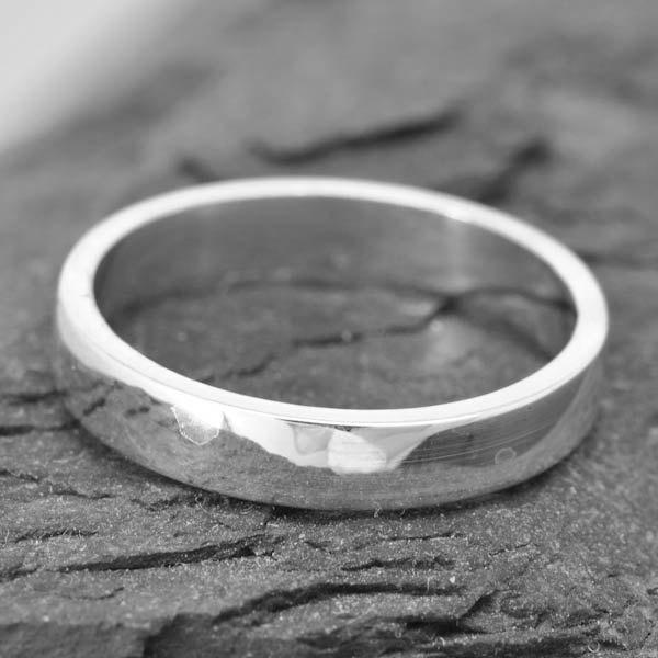 14K Palladium White Gold Ring 3mm X 1mm Flat Wedding Band Square Mens Size Up To 9