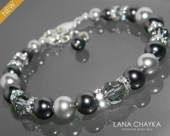 Black Light Gray Pearl Bracelet Swarovski Diamond Crystal Silver One Strand Wedding