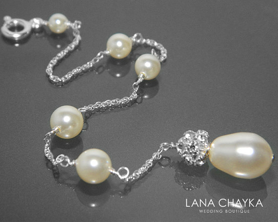 Mariage - Bridal Backdrop Necklace Ivory Pearl Backdrop Attachment Necklace Swarovski Ivory Pearl Bridal Backdrop Necklace Wedding Pearl Back Necklace