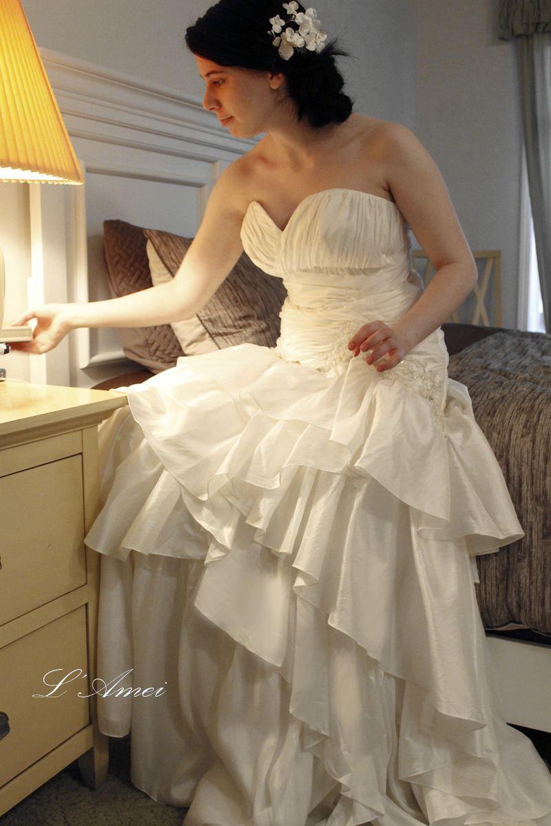 زفاف - Elegant Soft Sweetheart Wedding Dress with Lace and Sparkle Bling Details, can be custom tailored for plus size