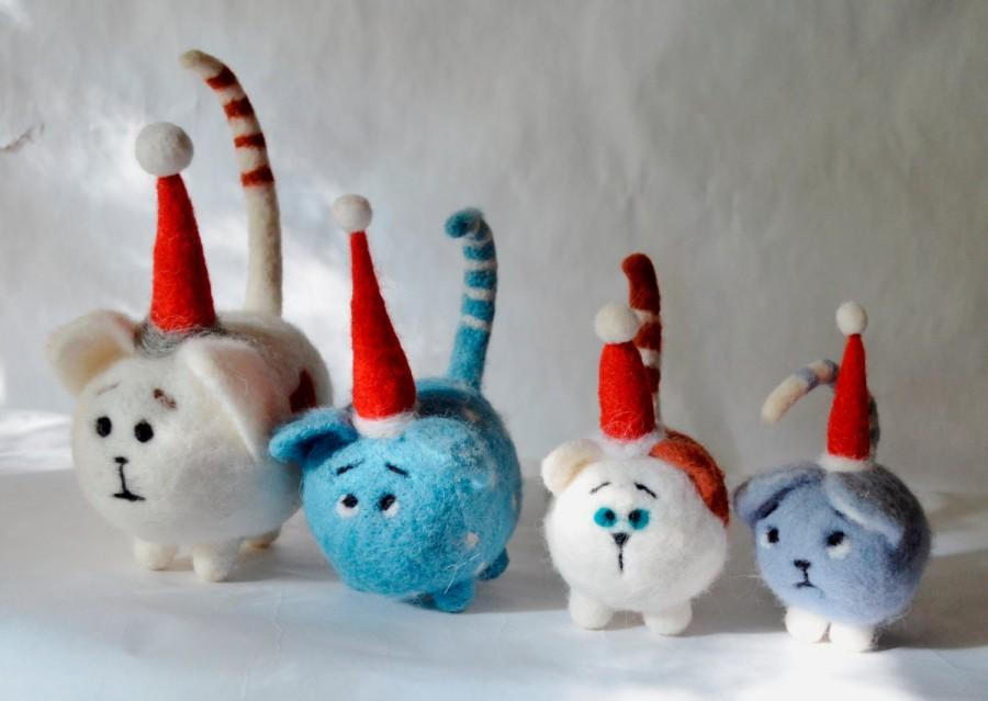 Wedding - Cat . Set of four kittens, Santa Claus , Needle felted cat, Art Dolls, Interior doll , needle felted.READY TO SHIP
