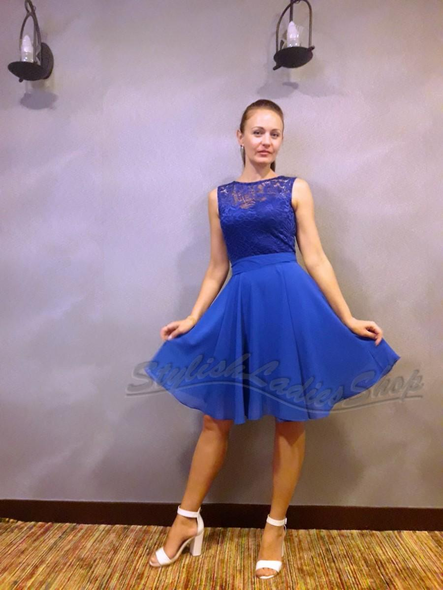 Bridesmaid Dress Cobalt Blue Royal Bridesmaids Lace Wedding Party Chiffon Short