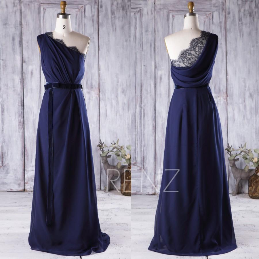 زفاف - 2016 Royal Blue Bridesmaid dress, Lace Wedding dress, One Shoulder Prom dress with Velvet Belt, Draped Back Formal dress floor length(H155B)