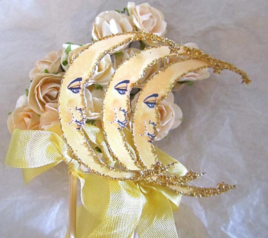 Свадьба - Gold Glitter Wedding Decor - Crescent Moon - Set Of 3 - Art Deco - Celestial