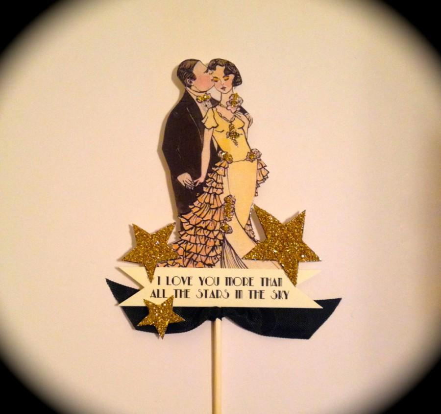 Hochzeit - Great Gatsby Cake Topper, Roaring Twenties, Great Gatsby, Art Deco, 14 Karat Gold Glitter